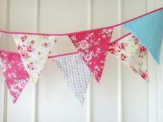 Spring Time Bunting Fabric Banners Flag Wedding by BerryAlaMode, etsy - great for parties!