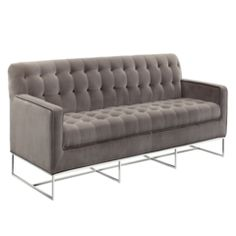 You'll ❤ The Sunpan Alexandria Sofa Tufted Giotto Grey on Stainless Steel 100878 Traditional Sofa, Traditional Furniture, Marsala, Hudson Sofa, Gray Sofa, Upholstered Sofa, Cozy Blankets, Sofa Furniture, Steel Furniture