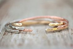 THREE or SIX SKINNIES Silver Copper Gold Bangles/ Bracelets/ Cuffs. Boho, Chic, Fresh Hammered Jewelry. Unique Finds for Spring.