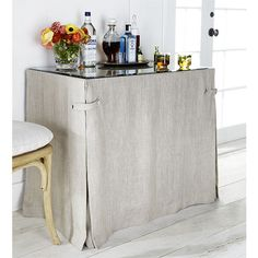 Linen Table Skirt for All-Purpose Table - contemporary - table linens - Splendid Willow Hidden Shelf, Hidden Storage, Beveled Glass, Table Covers, Bars For Home, Table Linens, Slipcovers, Diy Furniture, Plywood Furniture