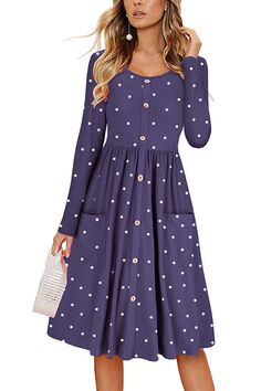 0d1c570970247 Long Sleeve Button Down Front Pocket Polka Dot Midi Dress Purple