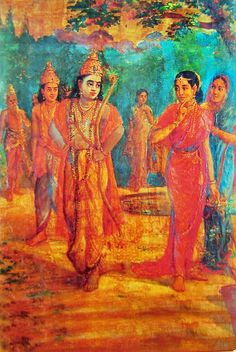 Sri Rama with Lakshmana Meeting sita (Reprint on Paper - Unframed))