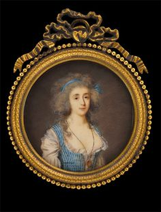 Jacques Antoine Marie Lemoine, Lady in Blue-Striped Dress with Locket approx. 1789. The locket on the lady' s neck presumably contains a picture showing the addressee of the miniature; the latter must have been intended as a souvenir portrait for her lover.