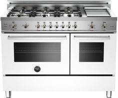 """Bertazzoni PRO486GGASBI Professional Series 48"""" Pro-Style Gas Range with 6 Sealed Brass Burners, 3.6 cu. ft. Main Convection Oven, Manual Clean, Electric Griddle and Storage Compartment - See more at: http://www.plessers.com/Bertazzoni/pro486ggasbi.htm #white #bertazzoni #cooking #kitchen #range"""