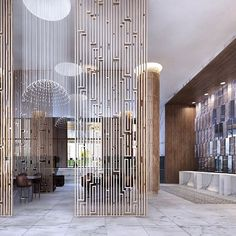 New hotel design by mccartan in downtown LA Lobby Design, Design Hotel, House Design, Screen Design, Interior Desing, Interior Architecture, Chinese Architecture, Architecture Details, Commercial Design