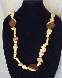 "Vintage 36"" Long Infinity Statement Necklace, Brown Wood Beads,Tan Wood Beads,VJ2026N by CKDesignsForYou on Etsy"