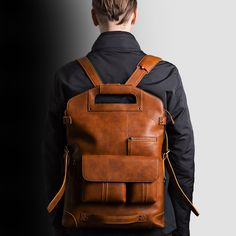 Leather Convertible Backpack This is an awesome leather convertible backpack, one bag 4 styles.