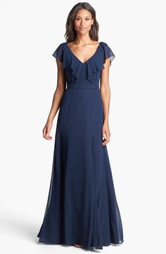 Evening blue Jenny Yoo 'Cecilia' Ruffled Chiffon Long Dress (Online Only) available at #Nordstrom