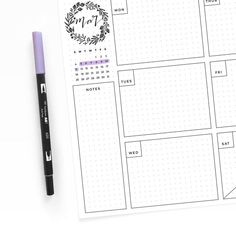 Freebie Friday - March Weekly Dot Grid Layout – Archer and Olive Bullet Journal Ideas Pages, Bullet Journal Layout, Bullet Journal Inspiration, Journal Pages, Bullet Journals, Diy Agenda, Diy Kalender, Bujo Inspiration, Weekly Planner Printable