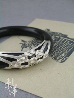 Hand-made 925 Sterling Silver Wire Coin Lacing Black Coral Bracelet