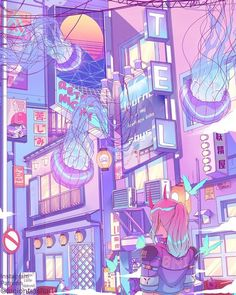 Oni city art created by ✨The related productions will be available to preorder soon!⠀ 💕Check the link in bio and stay tuned! Cute Pastel Wallpaper, Anime Scenery Wallpaper, Aesthetic Pastel Wallpaper, Kawaii Wallpaper, Aesthetic Wallpapers, Aesthetic Japan, Purple Aesthetic, Aesthetic Art, Aesthetic Anime