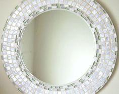 Beautiful Handmade Mosaic Mirror Bevelled Edge white ceramic and blue foiled glass Mosaic Tile Mirror Mosaic, Diy Mirror, Mosaic Art, Mosaic Glass, Mosaic Tiles, Mosaics, Mosaic Crafts, Mosaic Projects, Handmade Mirrors
