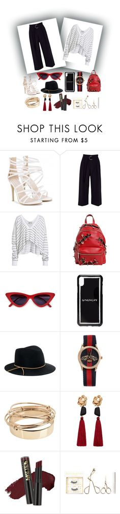 """""""Untitled #410"""" by liviwill2000 ❤ liked on Polyvore featuring River Island, Wildfox, Moschino, Givenchy, Eugenia Kim, Gucci, Valentino, MANGO, L.A. Girl and Battington"""
