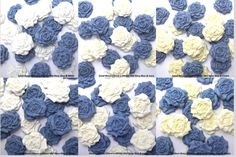 12 Mid Blue & White Ivory Cream Sugar Roses wedding cake decorations 25mm/30mm