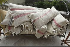 Gorgeous pillows from vintage linen grain sacks!