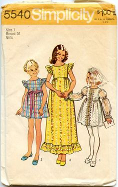 1970s Vintage Sewing Pattern Simplicity 5540 Girls Long or Short Empire Waist Dress Puff or Ruffle Sleeves Size 7 Breast 26
