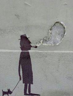 Street art: a gentleman and his dog, Berlin