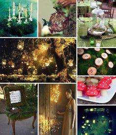 Enchanted/magical forest theme ideas for a wedding. Enchanted Forest Prom, Enchanted Forest Decorations, Magical Forest, Enchanted Wood, Enchanted Evening, Enchanted Garden, Fantasy Wedding, Dream Wedding, Dream Party