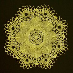"Knitted Lace Doily- ""Lars"" - Butter Yellow on Etsy shop lafarrelly."