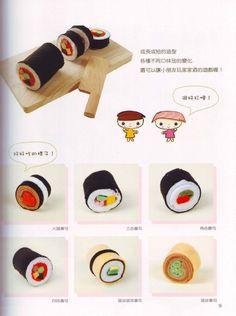 Feltro - Handmade -um livro lindo com comida japonesa toda feita à mão, em feltro