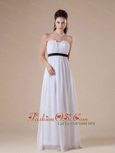 Custom Made White Chiffon Bridesmaid Dress Strapless Neckline Ruch and Black Sash Decorate    http://www.fashionos.com  http://www.facebook.com/quinceaneradress.fashionos.us   Sometimes simple style dress can leave a long lasting impression. This one is just we we mean. This strapless white prom dress is inspired by the amazing design with a V-shape cut in the center of the pleated bodice.