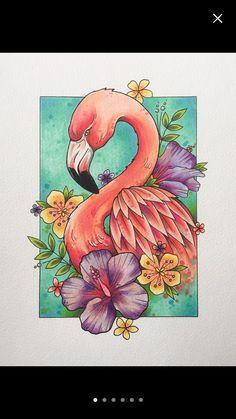 Flamingo print tattoo print flamingo decor gifts for women flamingo gifts tattoo design wall art watercolor painting Tiere Flamingo Decor, Flamingo Gifts, Flamingo Painting, Pencil Art Drawings, Art Drawings Sketches, Outline Drawings, Drawing Art, Drawing Ideas, Tattoos Friends