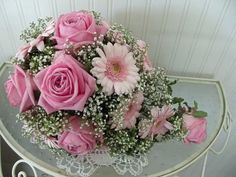 Teardrop bouquet of pink Gerbera, Gypsophila  and candy pink Roses