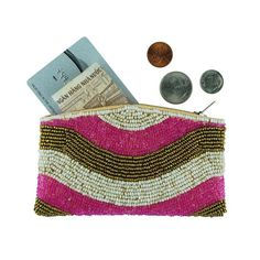 This beautifully hand beaded coin purse is adorned with glass beads in cream, pink and bronze. Fully lined with a satin-like cream color material. Length cm) x cm) tall Beaded Purses, Beaded Bags, Embroidery Bags, Beaded Embroidery, Mandala, Boho Bags, Coin Bag, Glass Beads, Coins