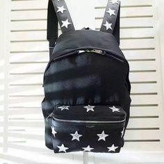 2017 New Saint Laurent City California Backpack In Black With Stars Exterior Zip