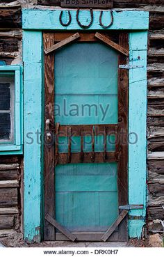 Door on historic cabin in the Frank Church - River of No Return Wilderness Idaho USA - Stock Image
