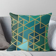'Gold, Green, and Blue Geometric Pattern' Throw Pillow by RecoveryGift Blue And Green Living Room, Living Room Turquoise, Green Rooms, My Living Room, Green Living Room Ideas, Green Throw Pillows, Decorative Throw Pillows, Floor Pillows, Turquoise Throw Pillows