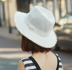 Pearl modification Panama hat for summer womens straw beach hats