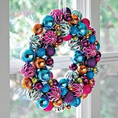 Jeweltone Wreath, Ornament Wreath, Colorful Christmas Decor | Solutions #SolutionsPinIt