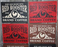 Rustic Red Rooster Brand Coffee Sign by TheOldRustyCoop on Etsy