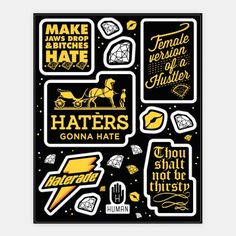 Haters Gonna Hate Theme Stickers #art #decor #design #stickers #fun #trendy #haters #diva #awesome #bling #bitches