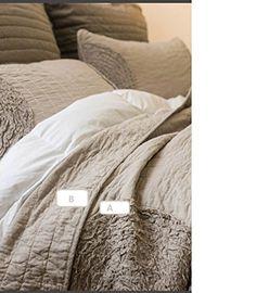 Brandream Queen Size White Grey Bed Quilt Set Luxury Bedspread