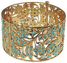 Persian Antiquities Bracelet: 22K Gold Solid bracelet with open fretwork of a Floral Leaf Design with Turquoise beads. Probably belonged to a Queen. 200 BC