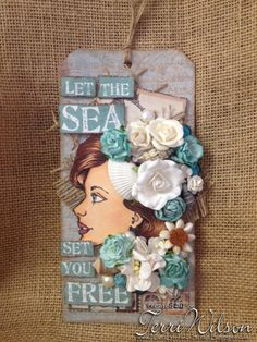A beautiful tag made with Jamie Dougherty's Bloom Girl Collection Sophie Stamp! http://nanaloves-2-scrap.blogspot.com #bloomgirlcollection #jamiedougherty #diy #primamarketing #bloomgirls #primaseashorecollection ♡