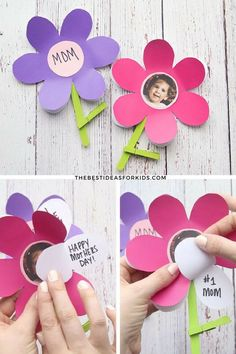 Flower template for Mother's Day. Mother's Day Craft for Kids. Flower Craft for Kids. Mother's Day Craft for Preschoolers. Mother's Day Craft for Toddlers. Mothers Day Crafts Preschool, Easy Mother's Day Crafts, Quick Crafts, Fathers Day Crafts, Toddler Crafts, Cadeau Parents, Mother's Day Activities, Flower Template, Mothers Day Cards