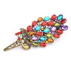 Colorful Rhinestone Inlaid Retro Peacock Style Hairpin US$8.00