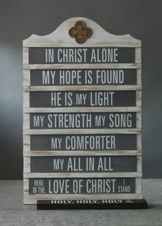 """Vintage Announcement Board.  7 tiles per set. Two sets of double-sided slide-in  tiles. Four songs total; The Doxology, Blessed Be the Name, In Christ Alone, and The Revelation Song. Wood. Each tile measures 18"""" × 3"""".    One can also purchase blank chalkboard-finish tiles for personalized messaging. www.mymaryandmartha.com/mholleyjones"""