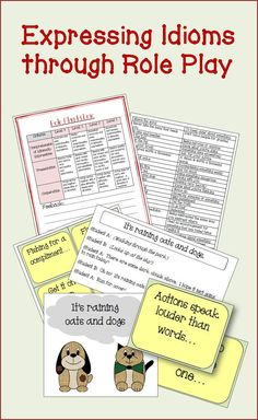 Teach idiomatic expression through role play. With 72 expressions to choose from, students can create scenarios to act out to explain what the idiomatic expressions mean. A idioms meaning sheet is included, cards to choose from and a role playing rubric. Oral Communication Skills, Drama Activities, Word Work Stations, Life Skills Lessons, 4th Grade Math Worksheets, Dog Words, Idiomatic Expressions, 5th Grade Teachers, Spelling Words
