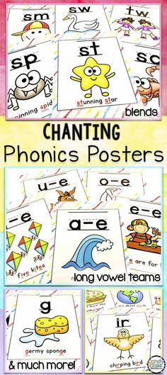Help increase phonemic awareness with these chanting phonics posters. Use as anchor charts by adding to a chart and discussing or print multiple ones to a page for some fun game cards! Can be used during morning meeting time or even during guided reading activities. Other ideas include a go fish and memory type games. Covers the alphabet, blends, dipthongs, digraphs, vowel teams, short vowels, long vowels, soft g, soft c, bossy r and more!