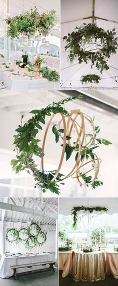 hanging greenery wedding decoration ideas