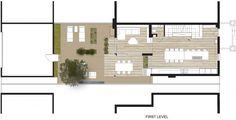 Plano casa pequeña de dos niveles