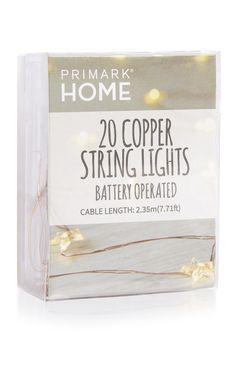 Primark | 20 luzes LED a pilhas estrelas cobre