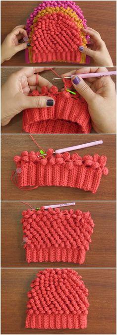 Crochet Beautiful Beanie Hat Granite Puff Stitch