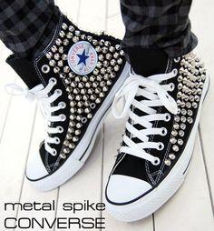 Punk Unisex Bloodycat Silver Spike Stud Shoes Original Converse All Star Black #Bloodycat #FashionSneakers