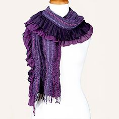 Purple Ruched Bubble Scarf