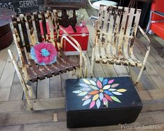 rusty chairs and wood trunk Petticoat Junktion shopping trip